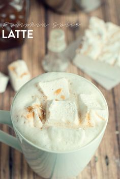 Pumpkin Spice Latte with Pumpkin Spice Marshmallows by Three in Three