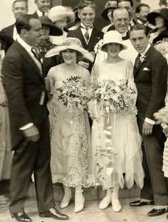Charlie (behind the bride & Mary), Douglas Fairbanks and Mary Pickford at the wedding of Mary's brother, Jack