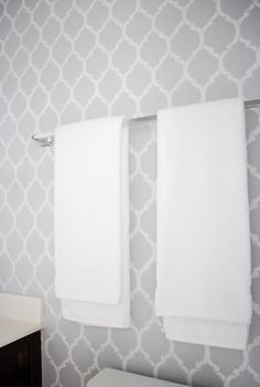 Gray wall stencils. Would be great for a bathroom of any size.