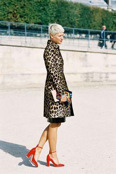 leopard print coat + red heels