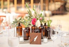 brown bottle vases