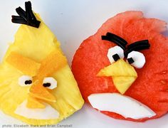 Angry Birds Fruit Faces - could also do veggie with tomatoes, maybe eggs for white bird?