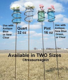 Mason Jar Garden Stakes for Pint Size Spring Green or Heritage Blue Jars by treasureagain  http://etsy.me/Zibk7n