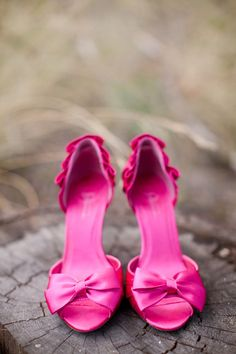 Fuchsia Bow Wedding Shoes | KT Merry Photography - ktmerry.com  Read More: http://www.stylemepretty.com/canada-weddings/2011/08/08/diy-rustic-wedding-by-kt-merry/