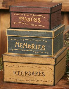 Primitive Boxes http://www.ebay.com/itm/New-Primitive-Country-PHOTOS-KEEPSAKES-MEMORY-Folk-Art-Nesting-Stacking-Boxes-/360673076616?pt=Folk_Art=item53f9ca6588