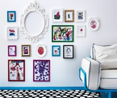 Create a fun wall display by using IKEA picture frames in different sizes and colors!