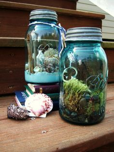 Terrariums are cheap to make, and they're a nice way to add some green to the home or even the office. Using a mason jar to store the plant arrangement is a nice twist on the traditional terrarium holders. Here's a guide on how to make a terrarium.  Source: Etsy user TheFreeFolk