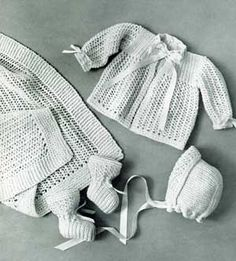 Knitted Layette Set, Wrapping Blanket, Jacket, Bonnet & Booties, Sizes 6 months to 1 year | Knitting Patterns
