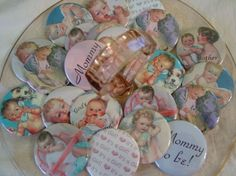 Baby shower vintage buttons