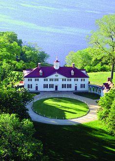 Aerial shot of George Washington's Mount Vernon Estate and Gardens, Virginia!