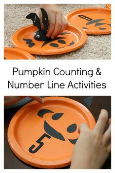 Pumpkin Counting and Number Line Activities! #Halloween #prek (repinned by Super Simple Songs)