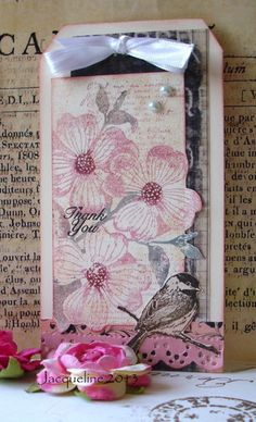 Dogwood Tag by Jacqueline.fr, via Flickr cut around flower image on one edge