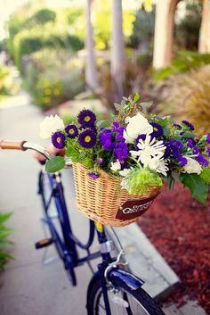 Blue bouquet bike