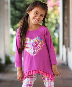 Magenta Raglan Heart Tunic - Toddler & Girls | zulily