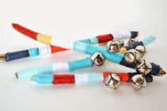Yarn Wrapped Sticks With Bells @ Untrendy Life