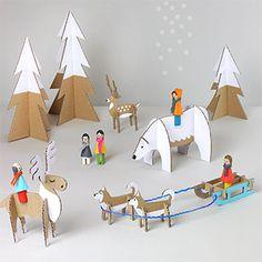 Cardboard Winter Wonderland idea, peg doll, templat, cardboard toys, winter wonderland, diy craft, dolls christmas printables, doll winter, kid