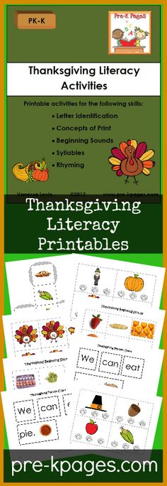 Printable Thanksgiving Literacy Activities for Preschool and Kindergarten. Letter alphabet recognition, concepts of print, beginning sounds, syllables, rhyming and more!