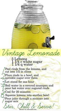 Easy recipe for vintage lemonade.