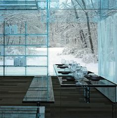 Transparent concept home was designed to showcase a series of modern glass furniture from Italian company Santambrogiomilano.