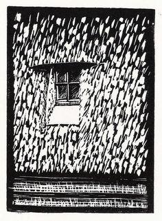 "Original handmade linoprint, ""Raam, Molen de Zandhaas"", of a window in the thatched 18th century Dutch windmill in Santpoort-Noord, The Netherlands, by Catriona Black. Visit www.black-prints.com for more."