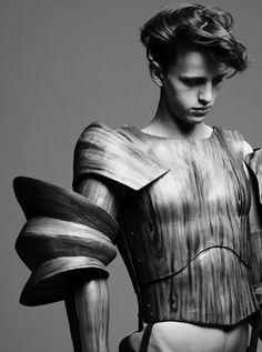 Sculptural Fashion with wood-like materials + 3D sleeve detail; fashion armour // photography, Hedi Slimane