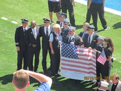 Me with American Airlines, United Airlines pilots, flight attendants, NYFD & the 9/11 Memorial flag (names of all who perished on 9/11) at the 10 year 9/11 Memorial, The Air Force Academy/TCU game.