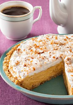 Coconut-Pumpkin Pudding Pie — This easy dessert recipe is a sweet and creamy combination of spicy pumpkin filling, vanilla pudding and flaked coconut—and it's ready for the oven in 20 minutes.