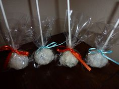 Fluffy bunny tail cake pops....chocolate chip cake pops covered with coconut