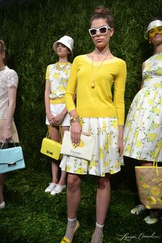 Fashion Week: Kate Spade 2014 collection with lemon blouses, skirts and dresses.