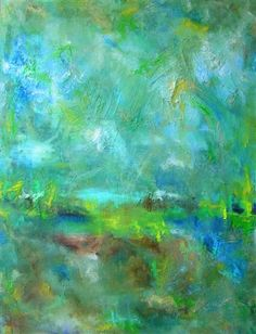 Tranquility - Original Ecofriendly Painting: Blue, Turquoise, Yellow Original Art with Organic Texture from Italy.
