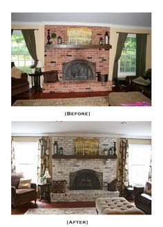 "White Washed Brick Fireplace ~ Tutorial.  Am seriously considering this since my used brick fireplace seems large in my little living room.  White-washign it may help it not seem so ""look at me!"""