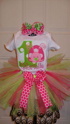 Boutique Birthday Ladybug Shirt and Tutu and Hairbow Personalized. $50.00, via Etsy.