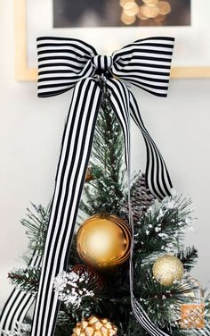 Tree Topped with Black and White Striped Bow