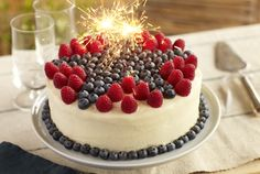 Driscoll's Superstar Blueberry and Raspberry Lemon Cake. #food #July_4th #berries #cakes #desserts