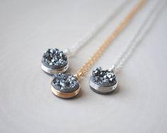 Druzy Necklace Druzy Jewelry Silver Druzy by SongYeeDesigns