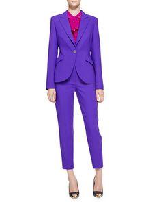 -516C Escada Long-Sleeve Wool Blazer, Long-Sleeve Ruffle-Neck Blouse & Cropped Pants