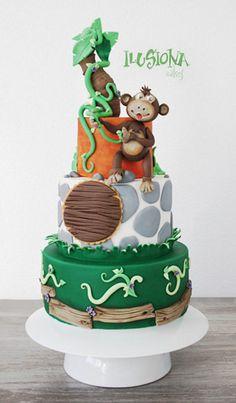 Monkey Cake Cake by Ilusionacake awesom cake, monkey cakes, park cake, bolo, cake cake, jungl cake, cake creation, anim cake, cake monkey