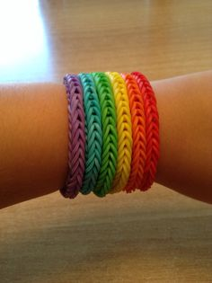 Rainbow loom fishtail bracelets in the colours of the rainbow