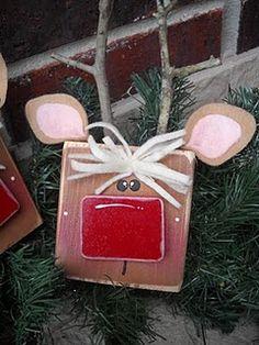 Raindeer blockhead.  Love that these are SO EASY and yet still super cute! reindeer, kids christmas crafts, goodi, felt, antlers, wood blocks, ears, christmas ornaments, wood crafts
