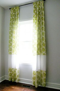House Pretty Blog: How to make any pair of curtains longer.  Need ridiculously long curtains in nursery.  Maybe Peggy could add a panel to make a standard size longer for me.