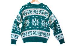 Teal & White Snowflake Tacky Ugly Ski Sweater Men's Size XL $22