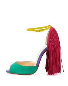 """Shoe du Jour"" 11.11.14 Christian Louboutin ""Ortrot"" Colorblock Suede Fringe Sandals « Shoefessional"