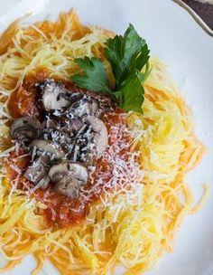 Spaghetti Squash with Mushrooms and Marinara dinner, marinara, spaghetti squash, caramel pecan, food, healthi, squash recipes, eat, mushrooms