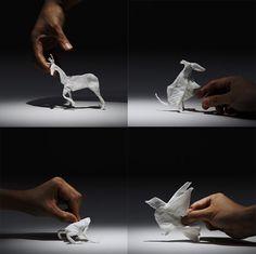 Tissue Paper Stop Motion Animals by Yuki Ariga stop motion paper animation advertising