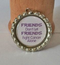 Purple and White Relay for Life Friends Don't Let Friends Fight Cancer Alone Flattened Bottlecap Pendant Necklace