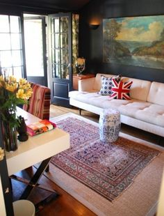 put our too-small Turkish rug over a neutral sisal one...genius!