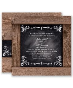 Rustic Chalkboard Wedding Invitation by David's Bridal: A vintage-look chalkboard with romantic filigree designs captures your wedding specifics, framed in rustic barn boards.