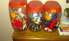 A great way to organize all the little toys, craft materials, really anything small you have lots of! Reuse the tide pods containers.... Can cover in cool fabric or just leave clear so its easy for little hands to see what's in them!