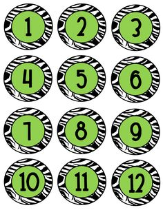 Free download...would be great for desk numbers! idea, coat hooks, print goodi, classroom themes, number lines, desk, classroom organization, zebra print, back to school