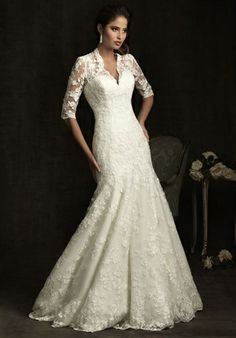 Allure Bridals   8900                             More of this type: A-Line, V-Neck, Floor, Attached, Chapel, Sheer, Lace, Whites/Ivory, $$                  Allure Bridals              8900